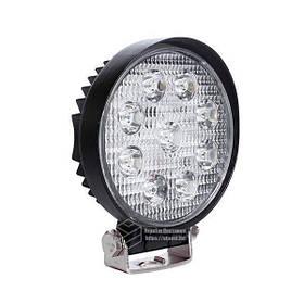 LED кругла фара 27W, 9 ламп, широкий промінь 10/6000K 30V