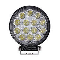 LED фара круглая 42W, 14 ламп, широкий луч 10/30V 6000K, фото 2