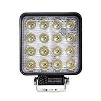 LED фара квадратная 48W, 16 ламп, широкий луч 10/30V 6000K, фото 2
