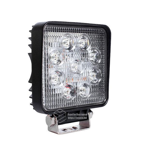 LED фара квадратная 27W, 9 ламп, узкий луч 10/30V 6000K