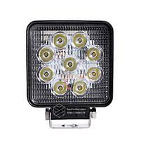 LED фара квадратна 27W, 9 ламп, вузький промінь 10/6000K 30V, фото 2