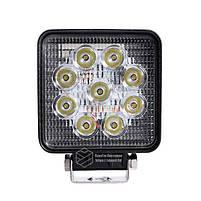 LED фара квадратная 27W, 9 ламп, широкий луч 10/30V 6000K, фото 2