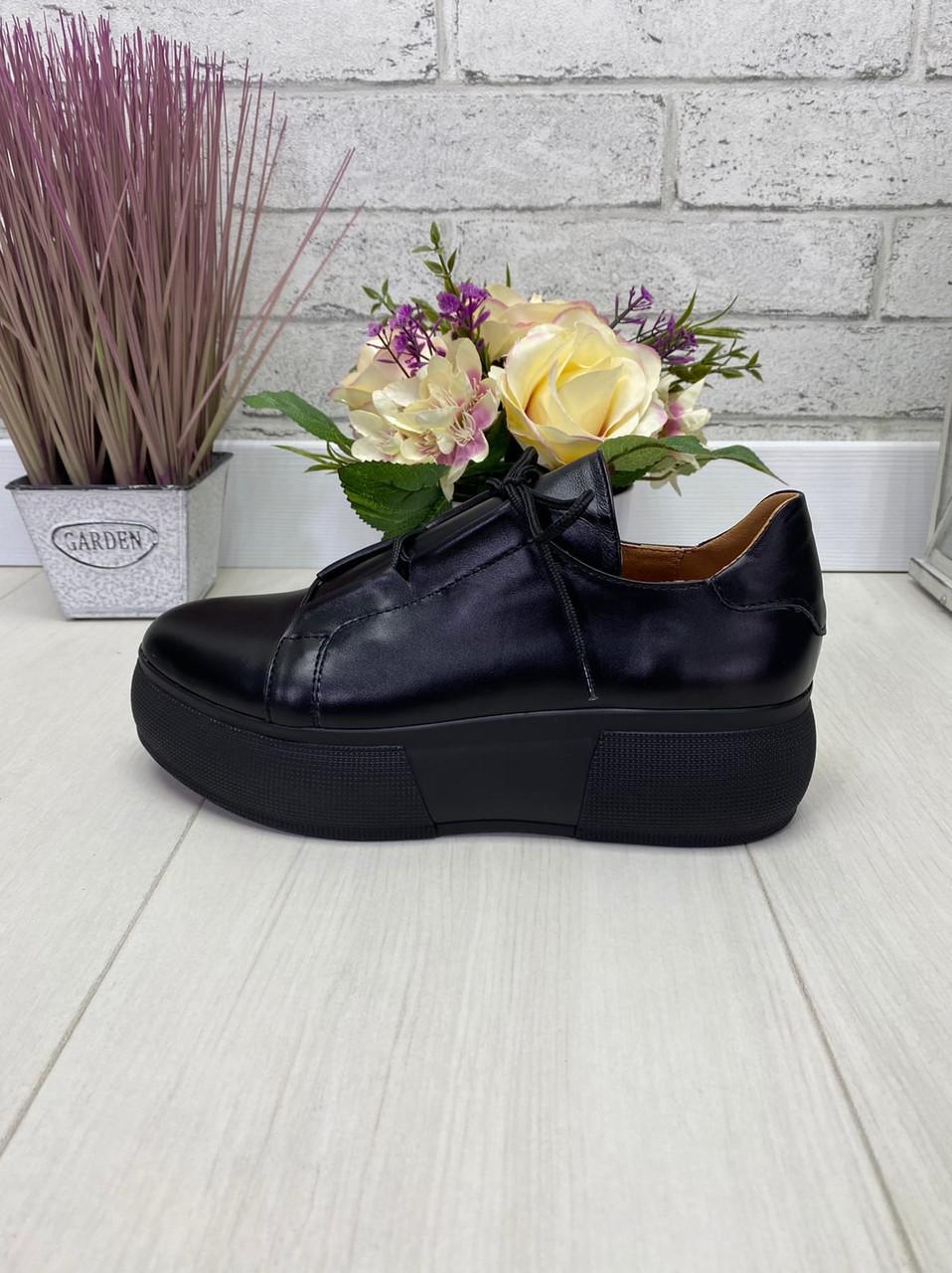 38 р. Кроссовки женские черные кожаные на подошве, из натуральной кожи, натуральная кожа