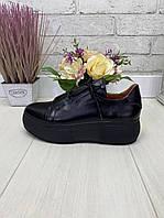38 р. Кроссовки женские черные кожаные на подошве, из натуральной кожи, натуральная кожа, фото 1