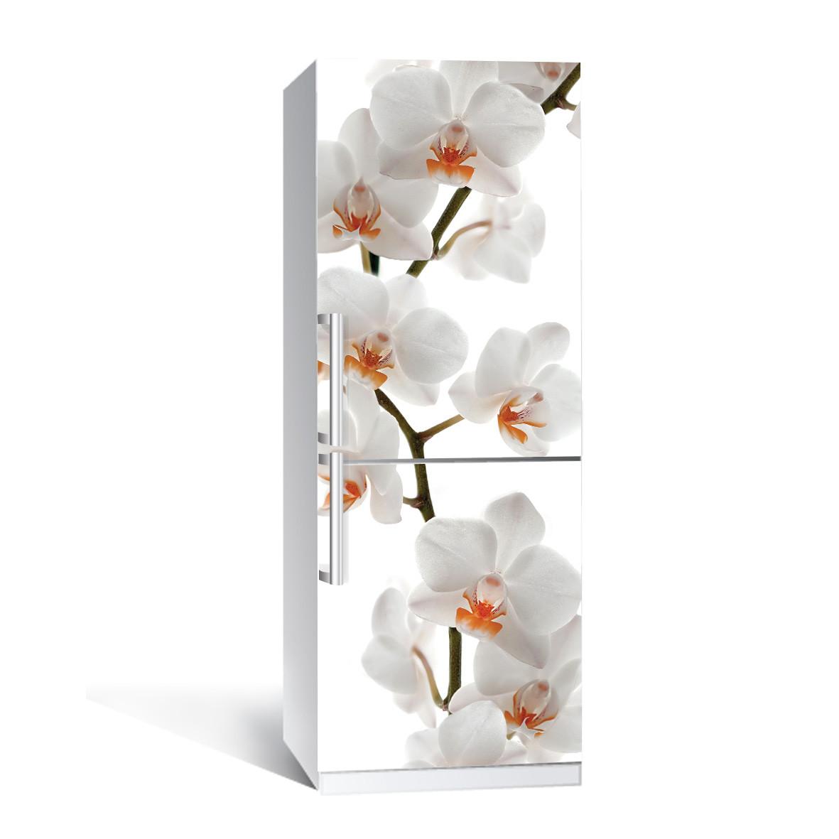 Вінілова наклейка на холодильник Орхідея 02 ламінована подвійна плівка фотодрук білі квіти