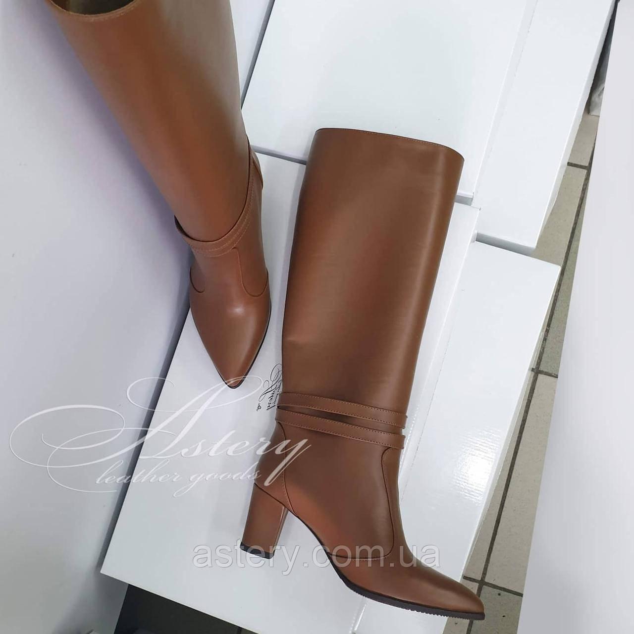 Женские сапоги трубы на каблуке 6см