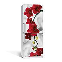 Вінілова наклейка на холодильник Червона Орхідея ламінована подвійна плівка фотодрук квіти абстракція