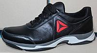Мужские кожаные черные кроссовки на шнурках от производителя модель ЛМ05