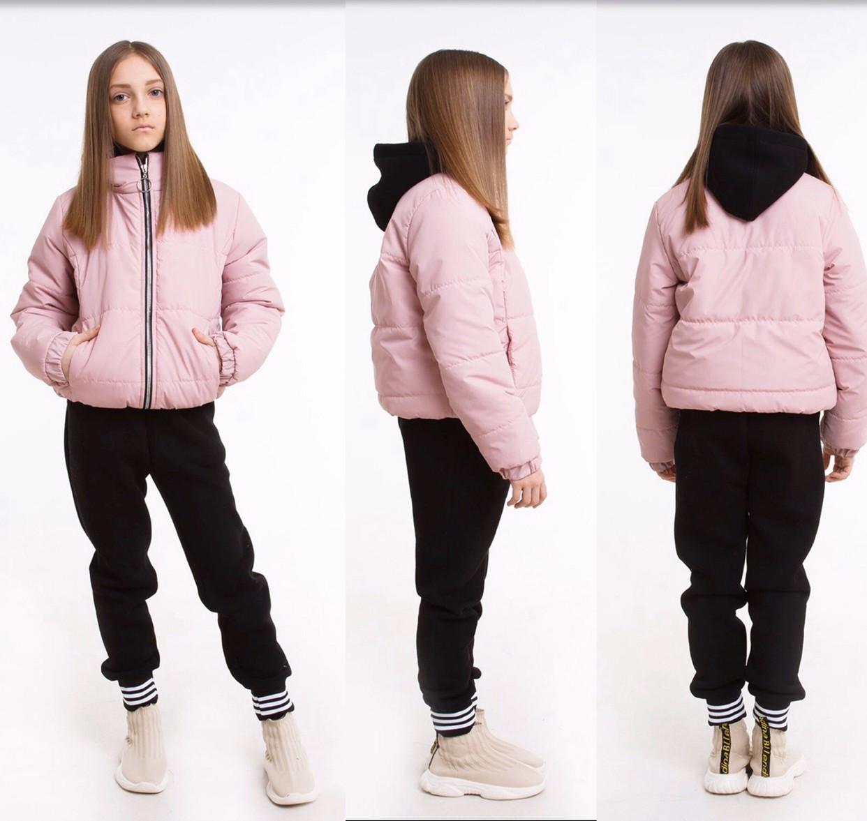 Куртка детская демисезонная лак для девочки без капюшона Доминика  на рост 122,128,134, 140, 146,152, 158, 164