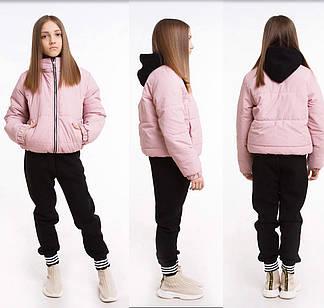 Куртка детская демисезонная лак для девочки без капюшона Доминика  на рост 122,128,134, 140, 146,152, 158, 164, фото 2