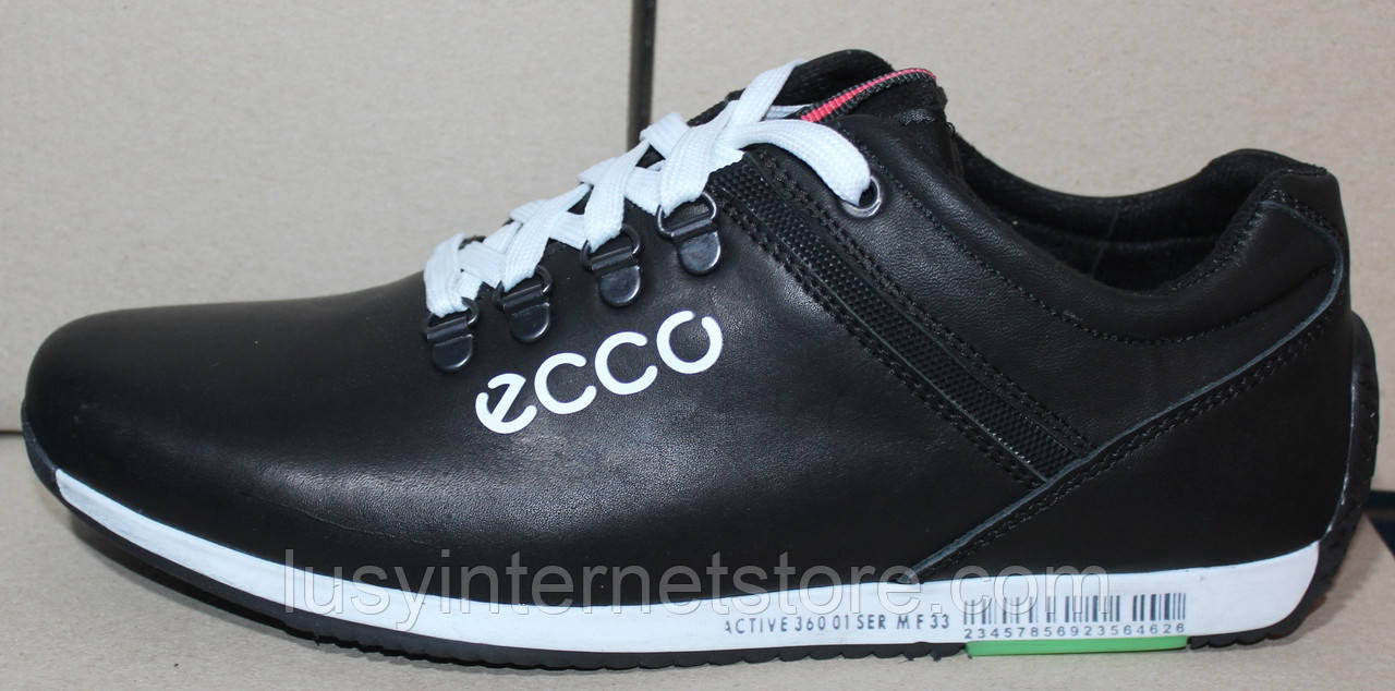 Мужские кожаные черные кроссовки на шнурках от производителя модель ЛМ110