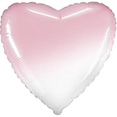 """Фольгированные шары без рисунка  18""""   СЕРДЦЕ Омбре бело-розовый Baby (FlexMetal)"""