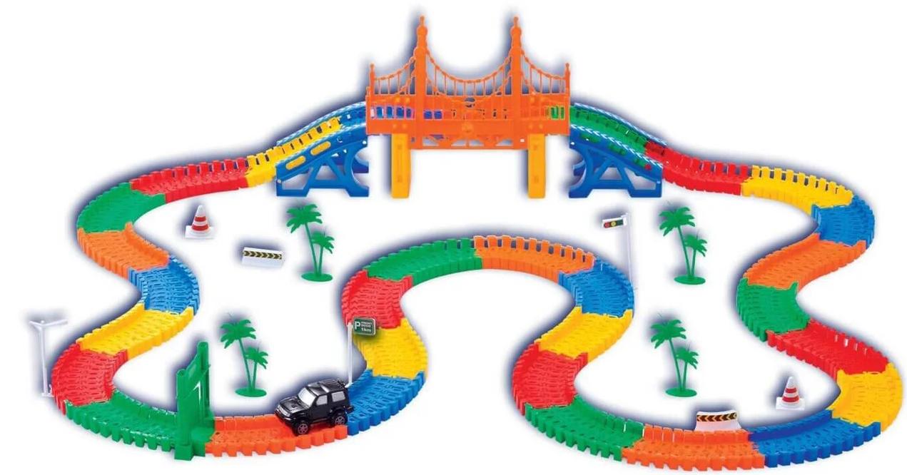 Меджик трек | Детский гоночный автотрек | Гибкий трек-конструктор Magic Tracks 165 элементов