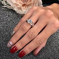 Серебряное кольцо* Foreve* 925 пробы с золотом 375 пробы с белым фианитом 4*4 мм. в центре.