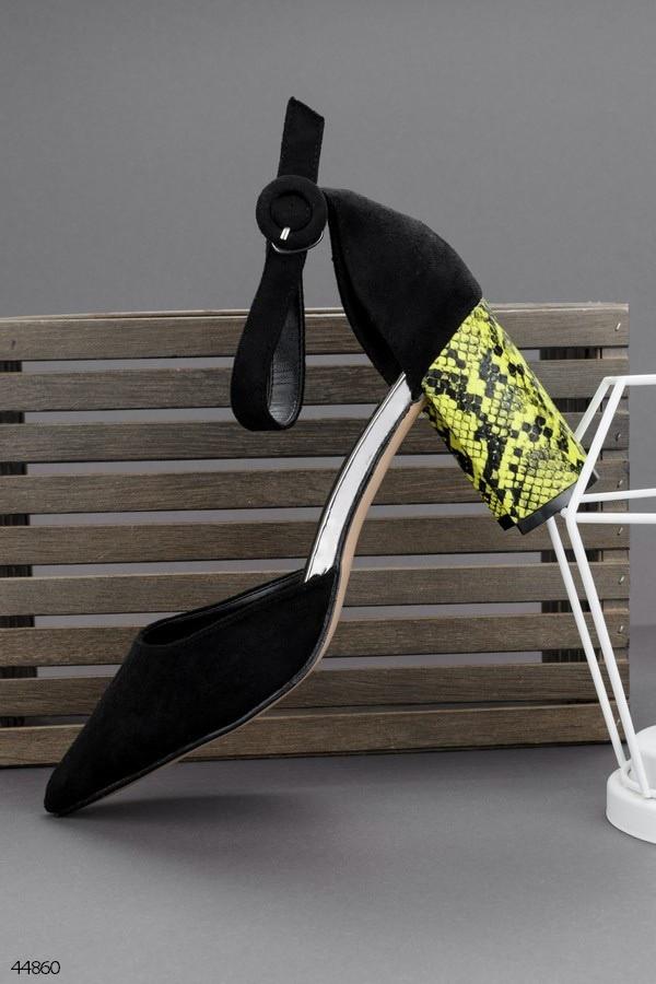 Туфли женские черные с желтым на каблуке 8,5 см эко- замш