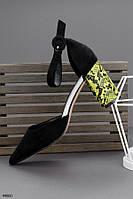 Туфли женские черные с желтым на каблуке 8,5 см эко- замш, фото 1