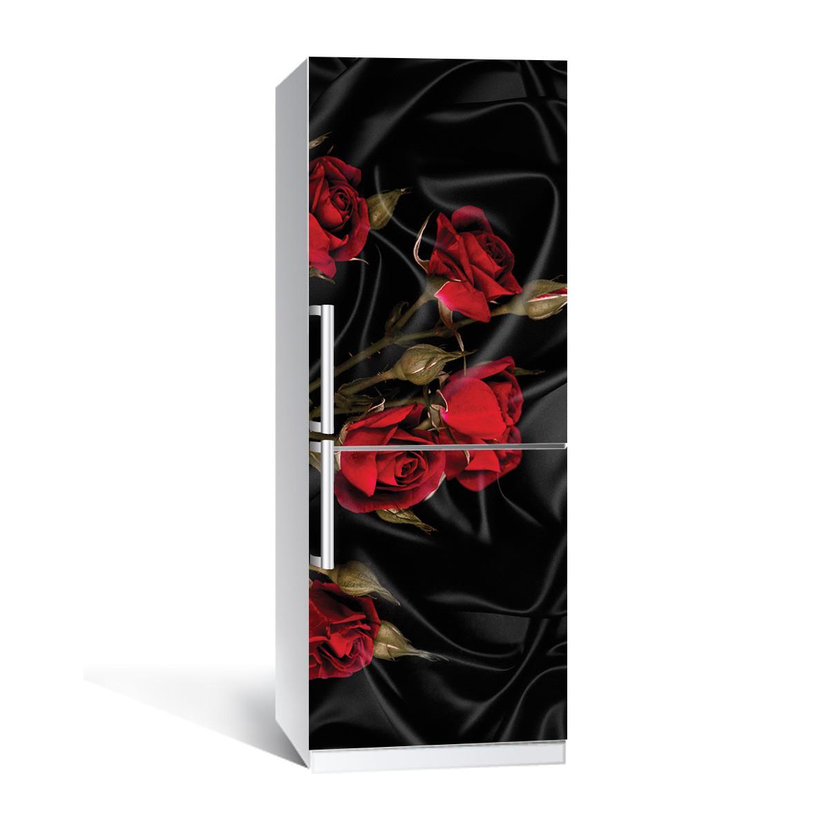 Вінілова наклейка на холодильник Роза Tassin ламінована подвійна плівка квіти червоні троянди чорний шовк