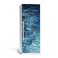 Вінілова наклейка на холодильник Роса ламінована подвійна плівка фотодрук кульбаби краплі води