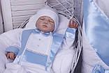 Демисезонный комплект одежды для новорожденных Стиль, белый с голубым, фото 4