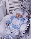 Демисезонный комплект одежды для новорожденных Стиль, белый с голубым, фото 3