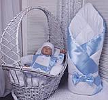 Демисезонный комплект одежды для новорожденных Стиль, белый с голубым, фото 9