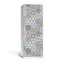 Виниловая наклейка на холодильник Орнамент 03 ламинированная двойная (пленка под плитку калейдоскоп абстракция