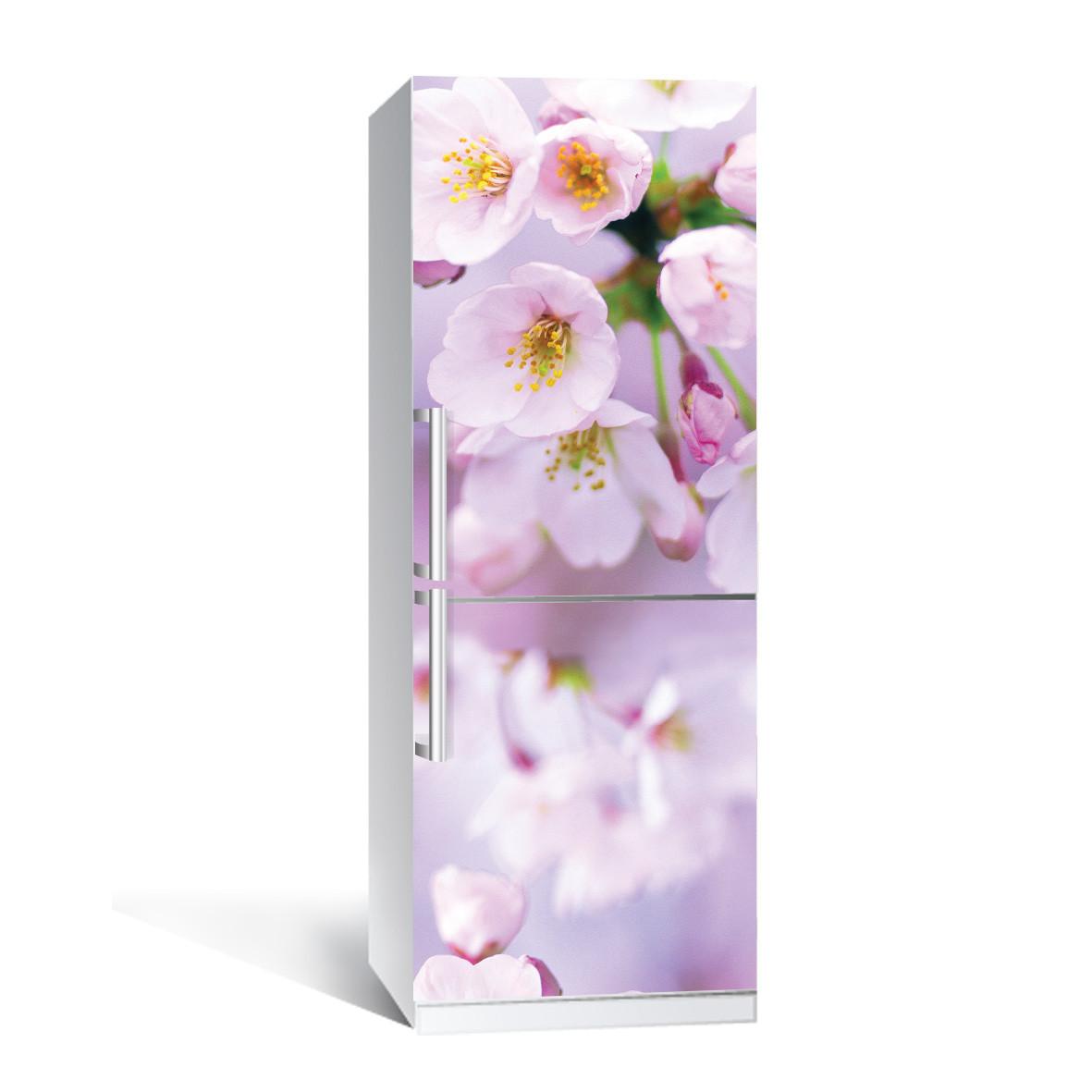 Вінілова наклейка на холодильник Квіти яблуні ламінована подвійна плівка рожеві квіти весна макро вишні