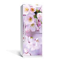 Вінілова наклейка на холодильник Квіти яблуні ламінована подвійна плівка рожеві квіти весна макро вишні, фото 1