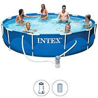 Бассейн каркасный Intex 28212 Metal Frame Set круглый 366Х76 см, фильтр насос