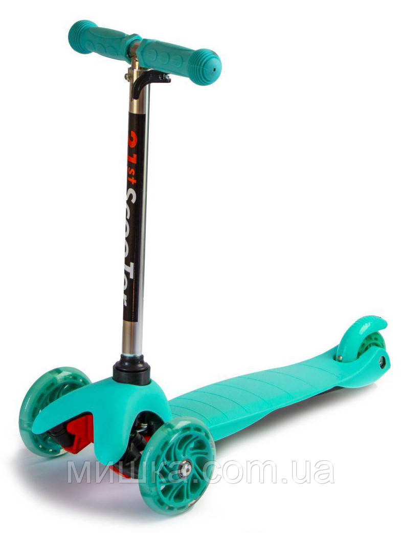 Самокат детский Micro Mini Best, светящиеся колеса, бирюзовый