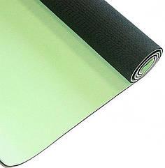 Коврик для йоги YOGA MAT зеленый/серый 6мм