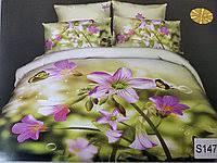 Сатиновое постельное белье евро  3Д ELWAY  S147