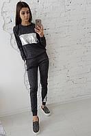 Темно-серый костюм с отделкой из пайеток, фото 1