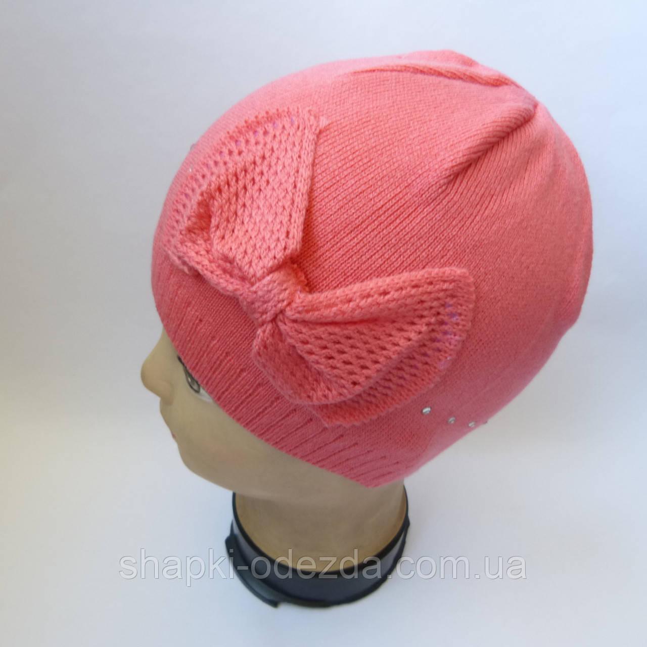Детская вязаная шапка для девочки с бантиком 4-6 оптом