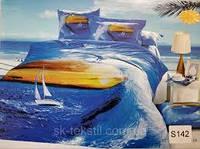 Сатиновое постельное белье евро  3Д ELWAY  S142