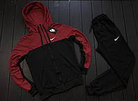 Спортивный костюм мужской Nike x black-burgundy ЛЮКС качества осенний весенний