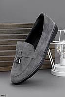 Женские туфли / лоферы серые эко замша, фото 1