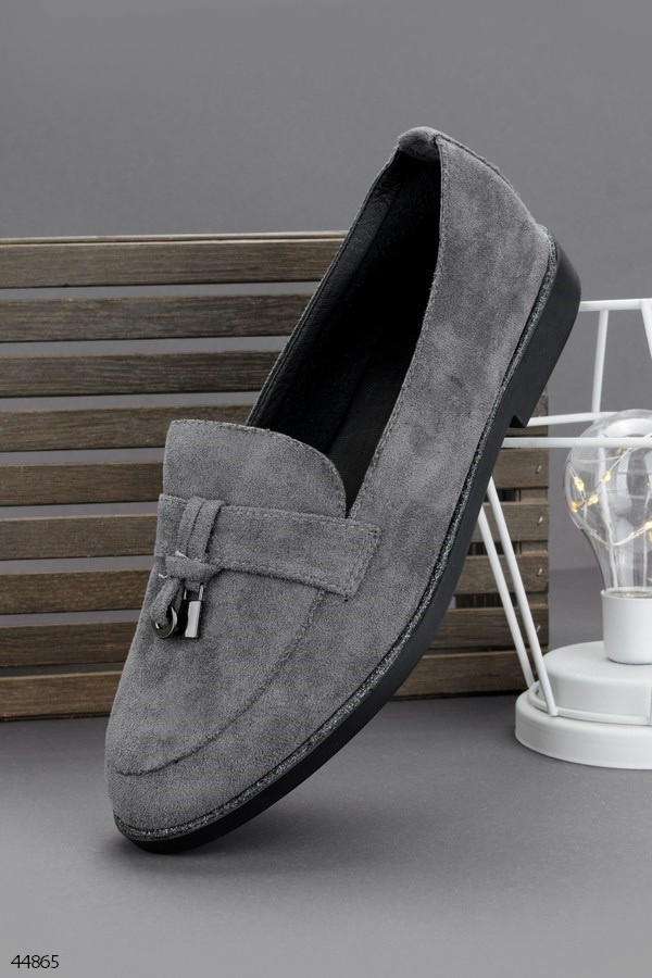 Женские туфли / лоферы серые эко замша