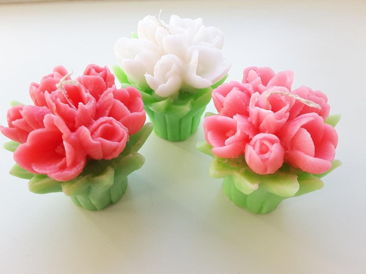 Свеча подарочная Букет тюльпанов 8 см