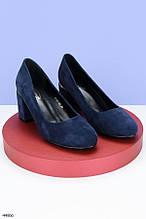Стильные туфли женские синие на каблуке 7,5 см эк замш