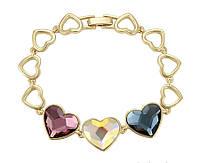 Медицинское золото браслет хупинг бижутерия с кристаллами Сваровски Swarovski сердце розовое и серое