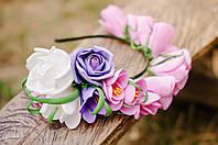 Ободок разноцветный из крупных цветов, фото 1