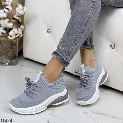 Серые кроссовки на платформе, фото 2