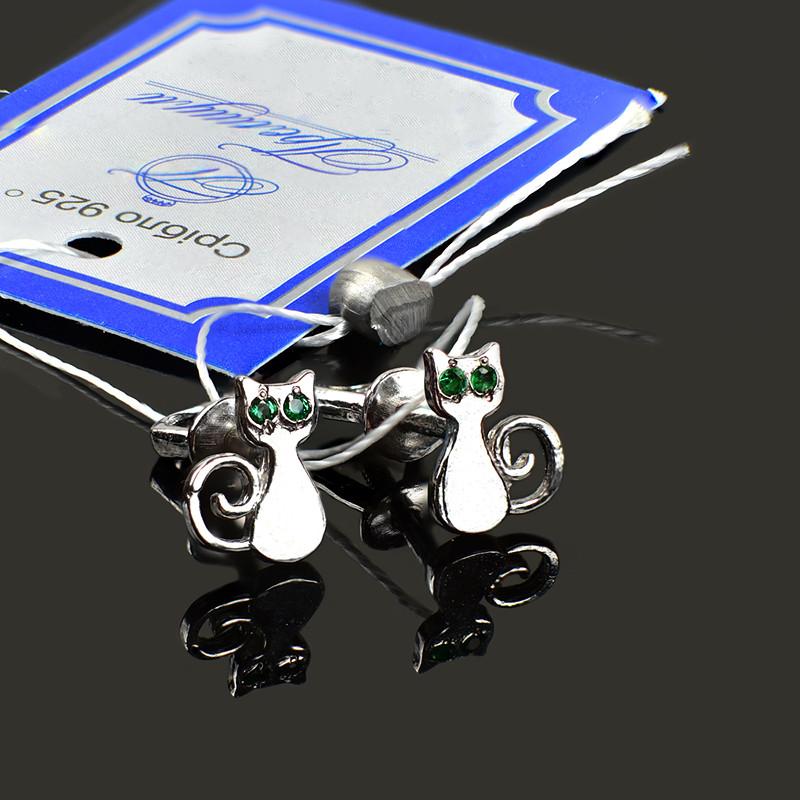 Серебряные родированные серьги гвоздики Котики