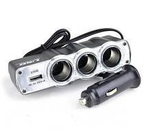 Разветвитель тройник USB от прикуривателя сплиттер ABX Triple Socket WF-0120