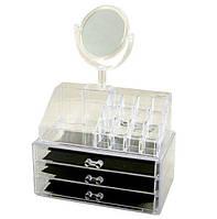 Органайзер для косметики акриловый настольный с зеркалом ABX Cosmetic Organiger