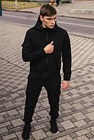 Куртка Soft shell + штаны black | спортивный костюм мужской осенний весенний ЛЮКС
