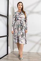 Утонченное платье под поясок с цветочным принтом