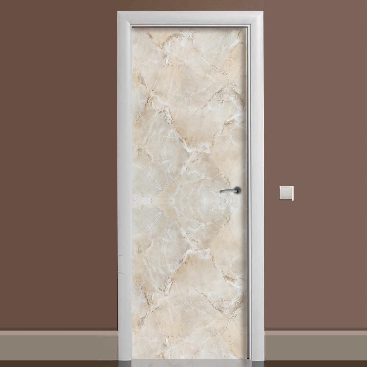 Виниловая наклейка на дверь Мрамор 01 Бежевый ламинированная двойная (пленка фотопечать под камень)