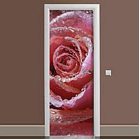 Виниловая наклейка на дверь Нежная роза ламинированная двойная (пленка фотопечать роса красный бутон цветы)